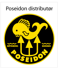 The word Poseidon in yellow on black underneath a drawing of a trident spearing a fish. Logo.
